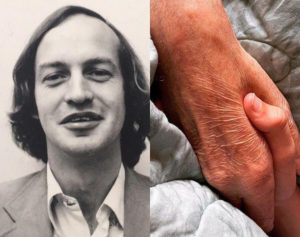 historical picture of a man smiling, picture of hands holding