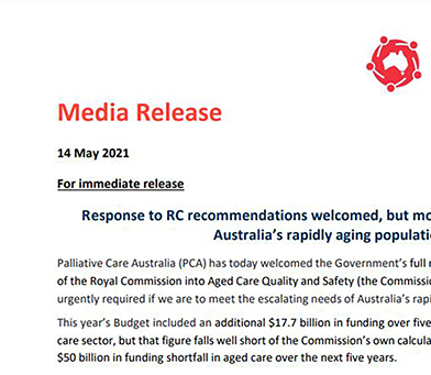 Response to RC recommendations welcomed, but more funding needed for Australia's rapidly aging population