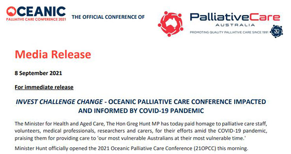 Invest Challenge Change – Oceanic Palliative Care Conference impacted and informed by COVID-19 pandemic